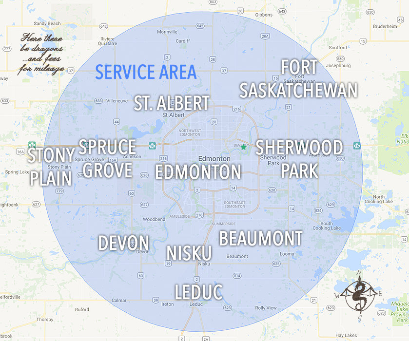 My service area includes Edmonton, St. Albert, Fort Saskatchewan, Stony Plain, Spruce Grove, Sherwood Park, Devon, Nisku, Beaumont, Leduc, in Alberta Canada.