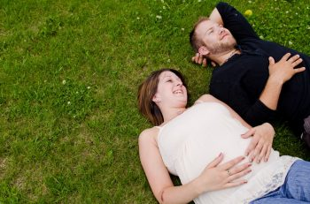 maternity photo in a meadow