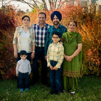 East Indian family at the Muttart Garden in Fall
