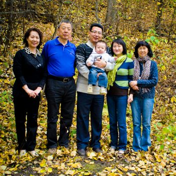 Asian family with grandparents and child