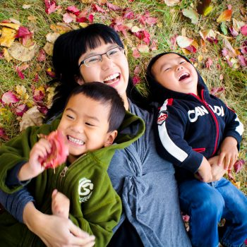 Edmonton family photos of Mother and her two young sons