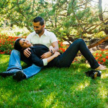 East Indian couple at the Alberta Legislature gardens