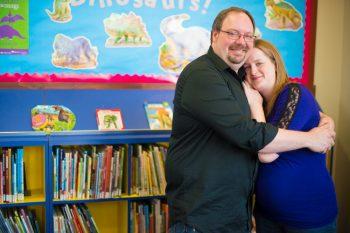 Maternity photos in the Edmonton Strathcona Library