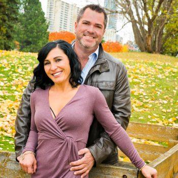 Stylish couple with backdrop of Edmonton City Centre
