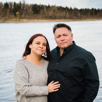 Couple in front of the river at Whitemud Creek mouth
