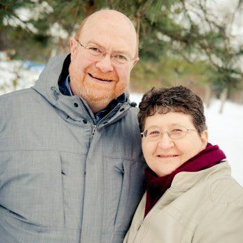 Smiling grandparents in wintertime
